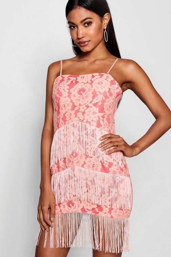 Lace and Tassel Bodycon Dress