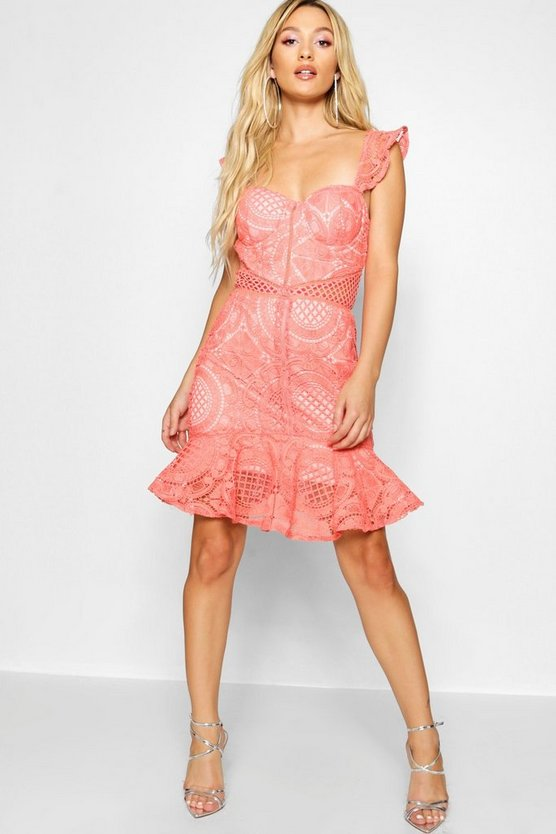 Paris Hilton  Lace Panelled Ruffle Hem Mini Dress