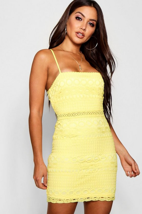 Lace Square Neck Bodycon Dress
