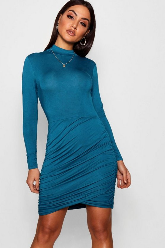 Ria Ruched Detail High Neck Bodycon Dress