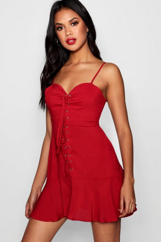 Danielle Sweetheart Lace Up Mini Dress