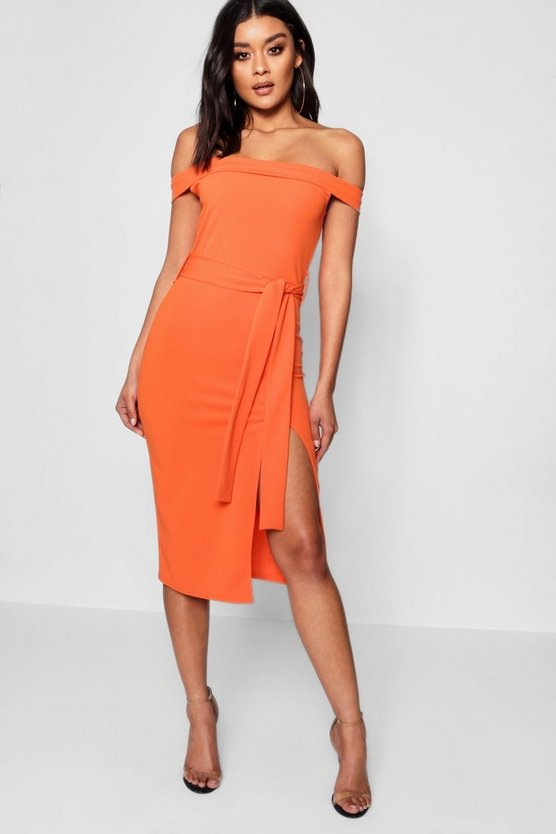 Sidra Bardot Tie Waist Split Detail Midi Dress