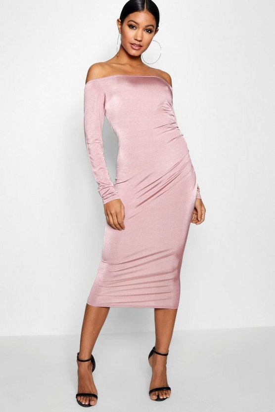 Savannah Off the Shoulder Ruched Midi Dress