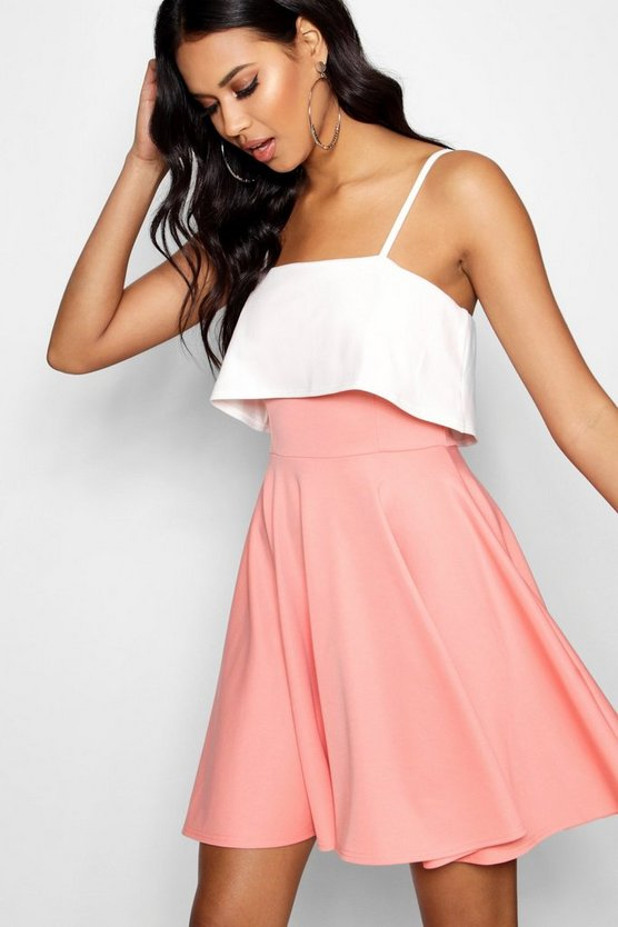 Honor Strappy Layered Top Skater Dress