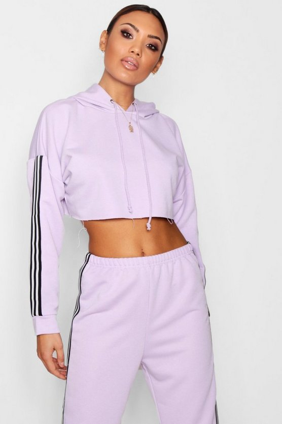 Allie Athleisure Stripe Crop Hooded Top