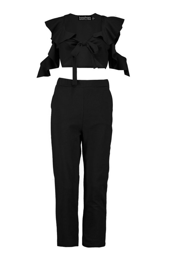 Ruffle Tie Front Top And Slim Trouser Co Ord by Boohoo