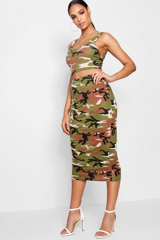 Camo Square Neck Crop Top and Midi Skirt