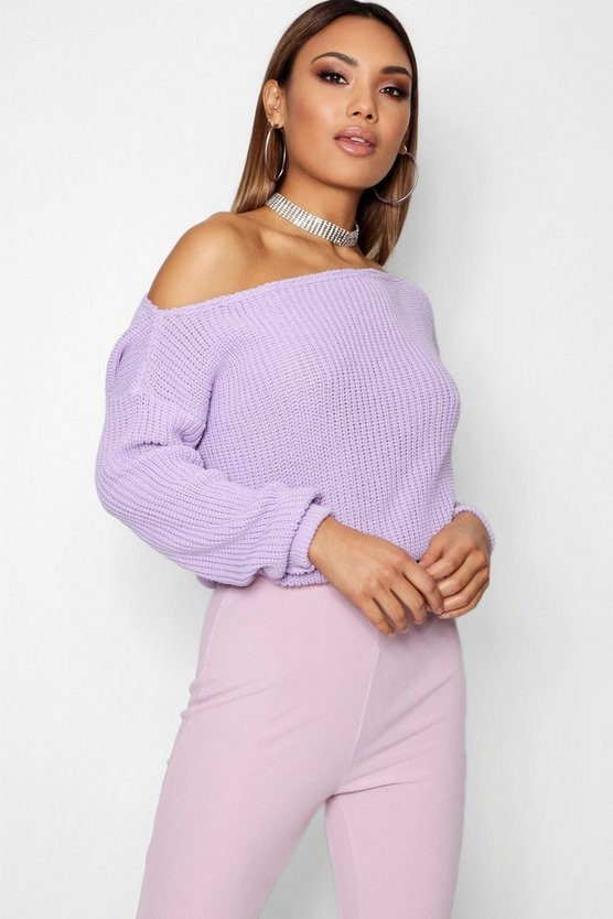 Natalie Crop Slashneck Jumper