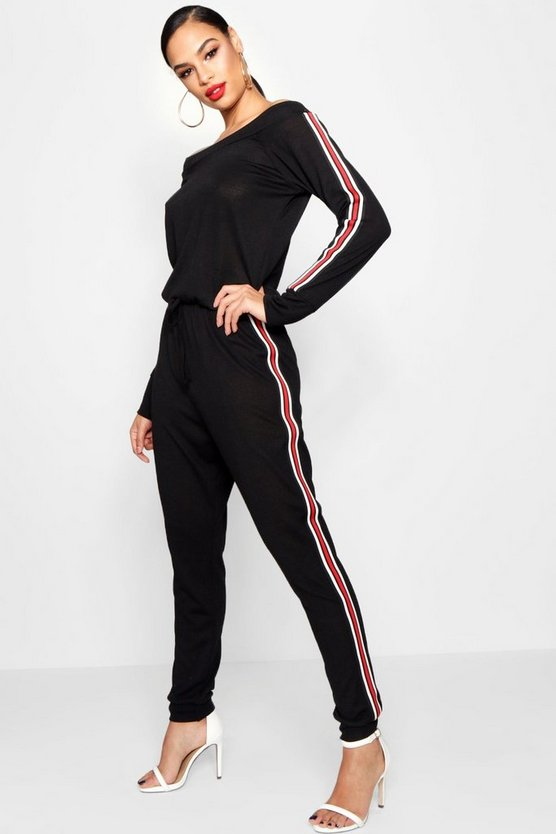 Sports Stripe Slashneck Knitted Jumpsuit