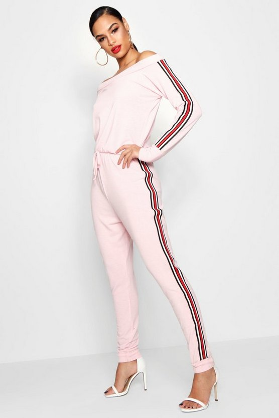 Sally Sports Stripe Slashneck Knitted Jumpsuit