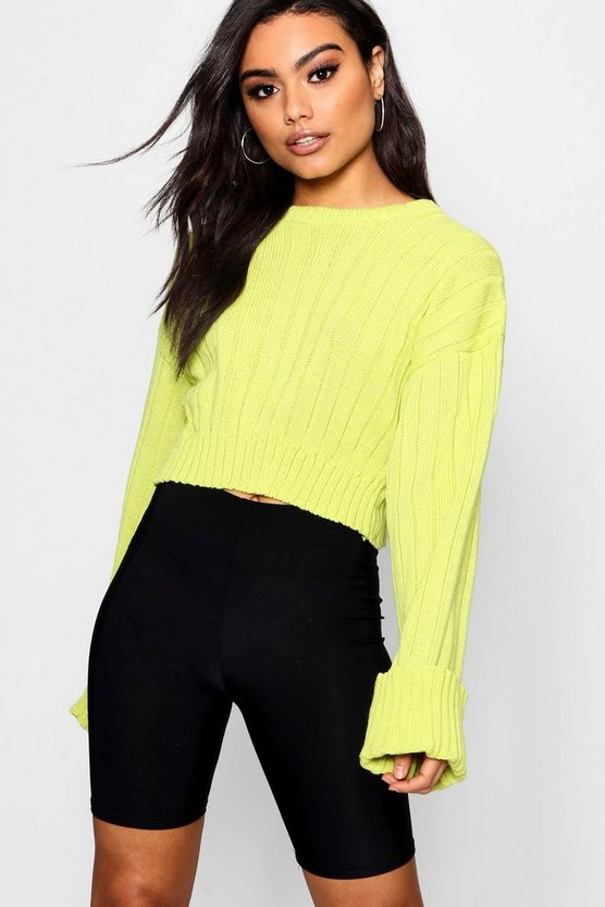Amber Wide Sleeve Cropped Jumper