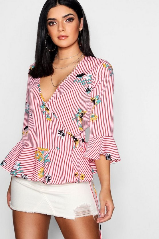 Floral + Stripe Ruffle Hem Wrap Top