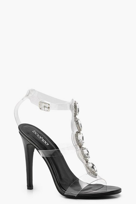 Embellished Cage Clear Heels