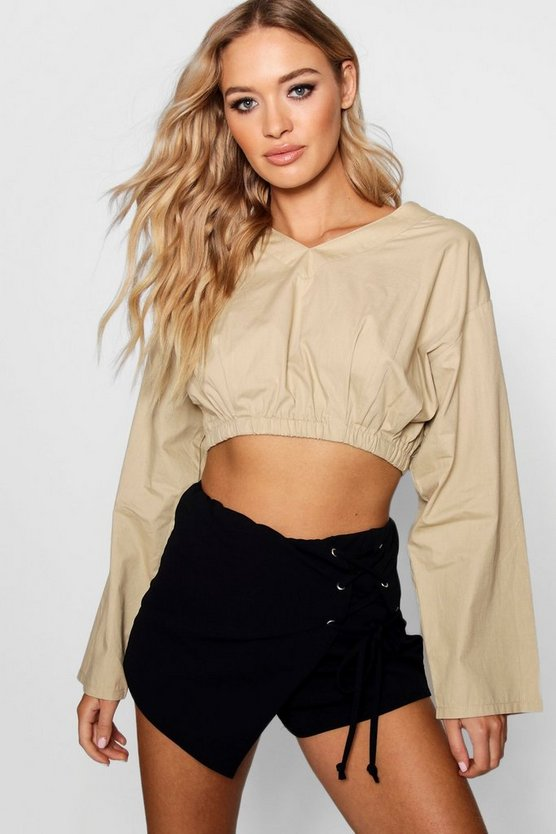 Gathered Hem Wide Sleeve Top