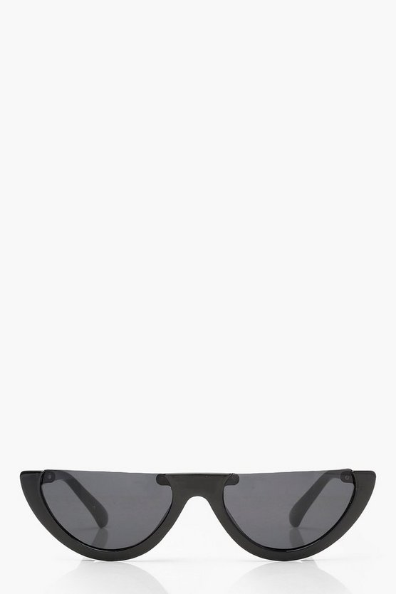 Ava Black Half Frame Retro Sunglasses by Boohoo