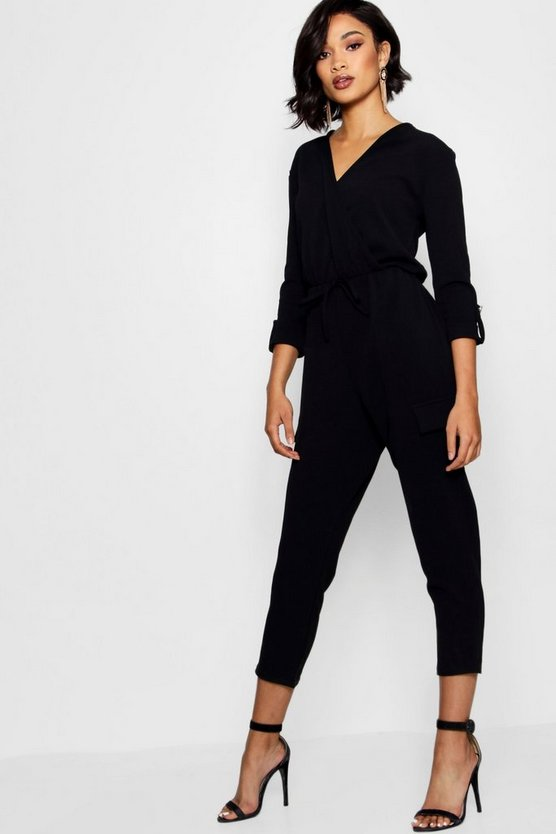 Military-Jumpsuit mit Wickelung vorne in Cargo-Stil