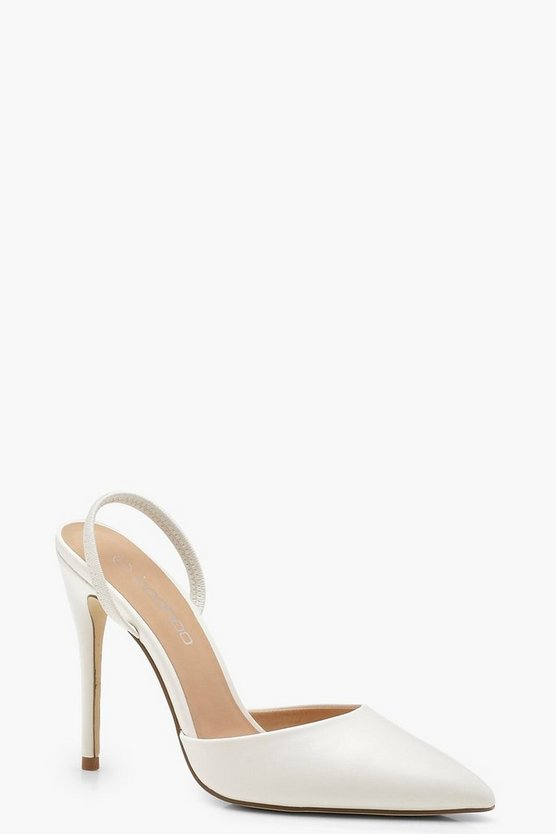 Elastic Sling Back Pointed Court Heels