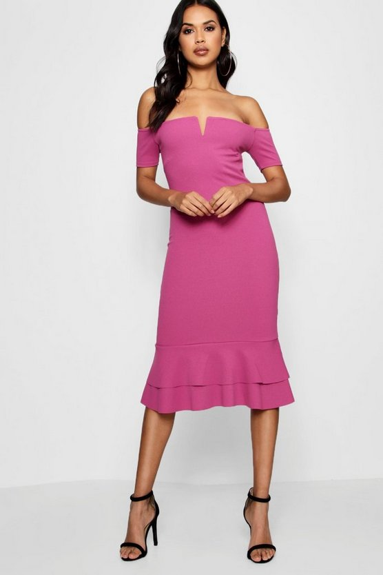 Off the Shoulder Flute Hem Midi Dress