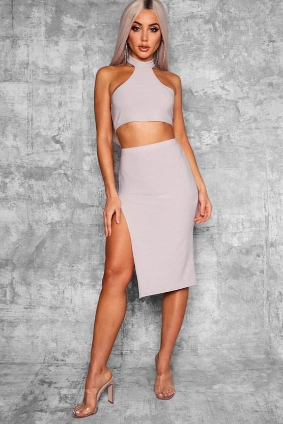 Thigh Split High Waist Midi Skirt