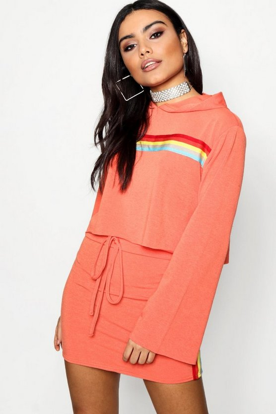 Ella Sports Stripe Bell Sleeve Cropped Hoody
