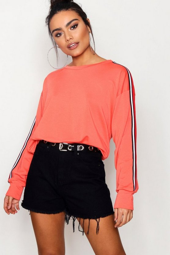Sports Stripe Batwing Sweat