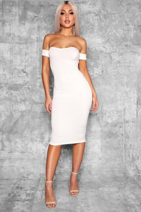 Ana Off Shoulder Curved Neckline Midi Dress