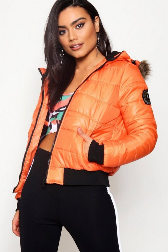 Crop Padded Jacket With Faux Fur Hood