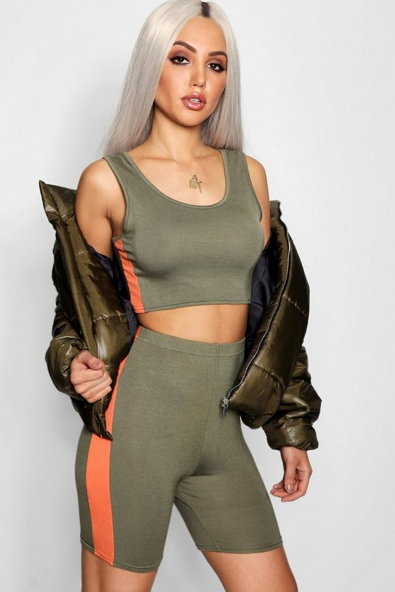 Hailey Side Stripe Racer Crop