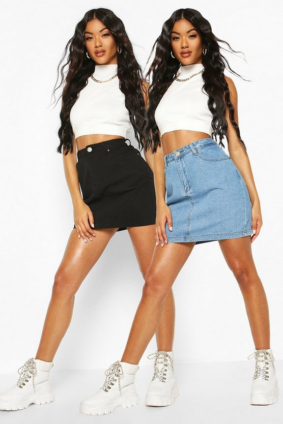 2 Pack Micro Mini Denim Skirt