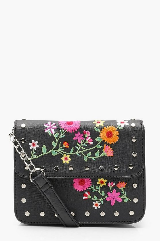 Embroidery And Stud Cross Body