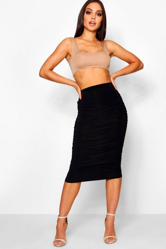 Helena All Over Ruched Midi Skirt