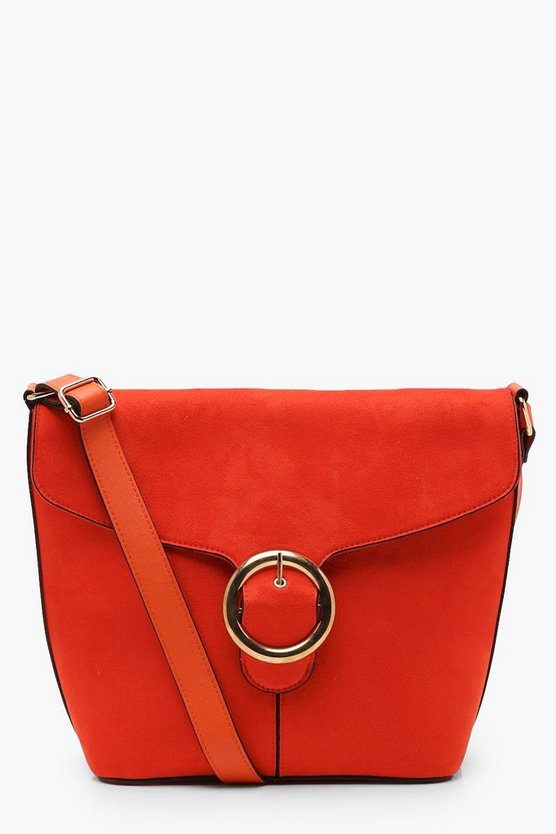 Suedette Ring Buckle Bucket Cross Body