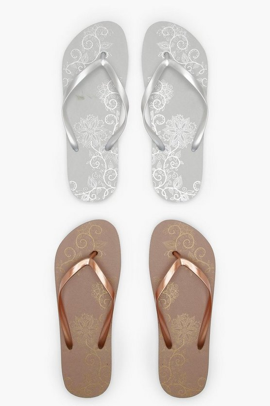 Mandala Print Two Pack Flip Flops
