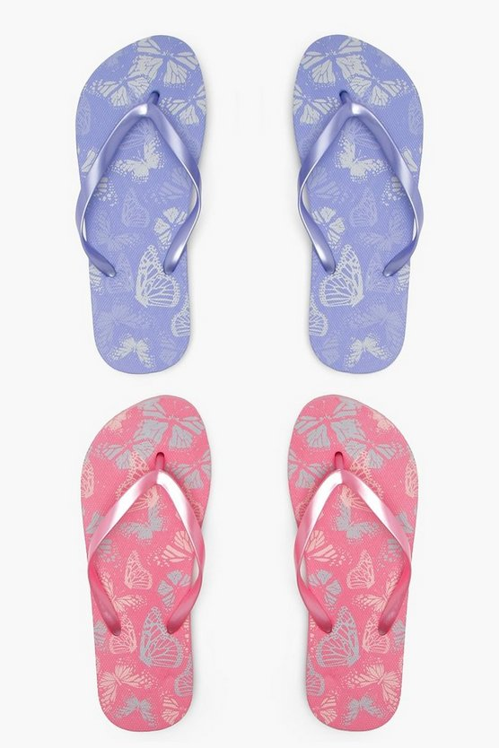 Butterfly Print Two Pack Flip Flops