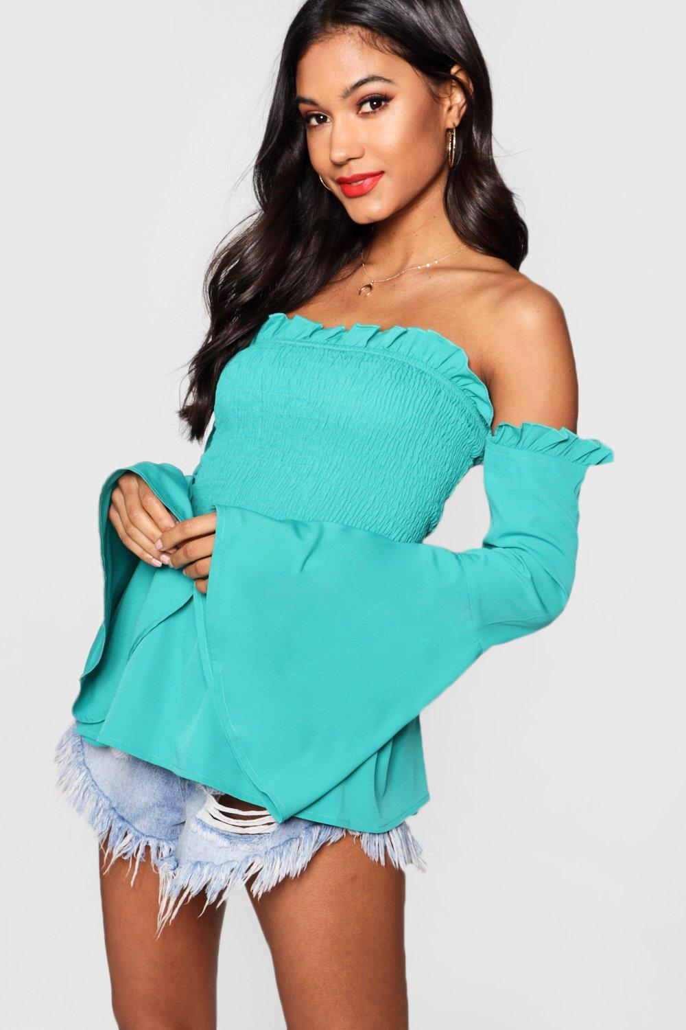 Shirred Off The Shoulder Top | Boohoo