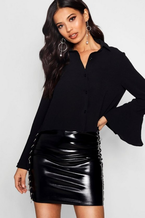 Crop Flare Sleeve Shirt