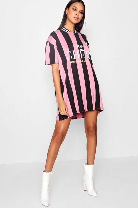 Beth Slogan Stripe Football T-Shirt Dress