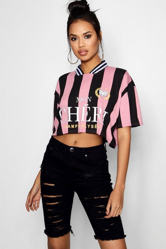 Slogan Sports Stripe Football Crop Shirt
