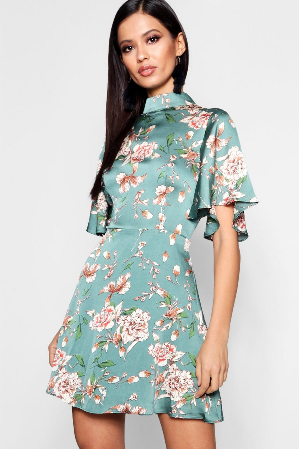 Floral High Neck Skater Dress | Boohoo