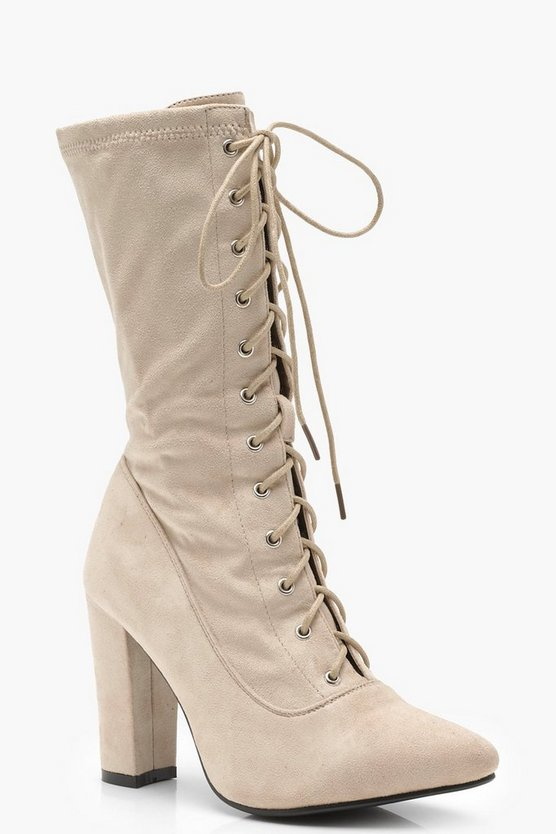 Molly Lace Up Block Heel Sock Boots