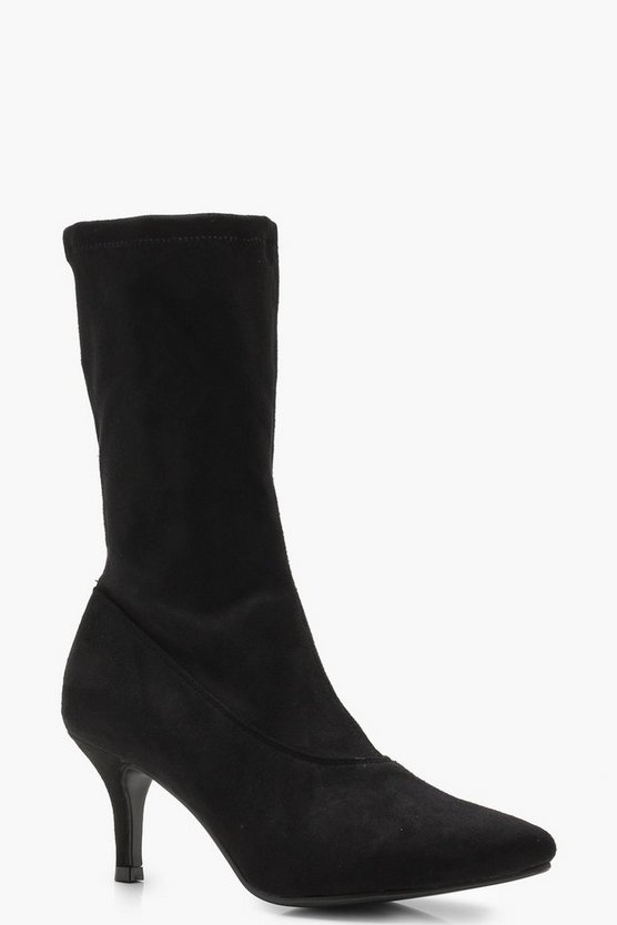 Low Heel Pointed Sock Boots