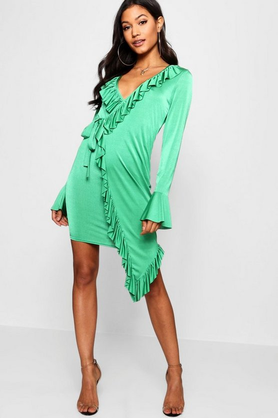 Asymmetric Ruffle Detail Wrap Dress