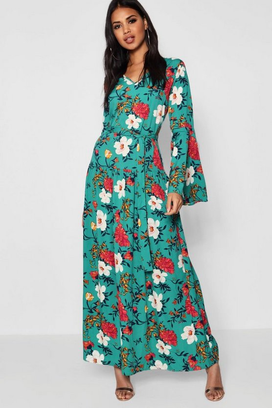 Floral Print Wide Sleeve Belted Maxi Dress