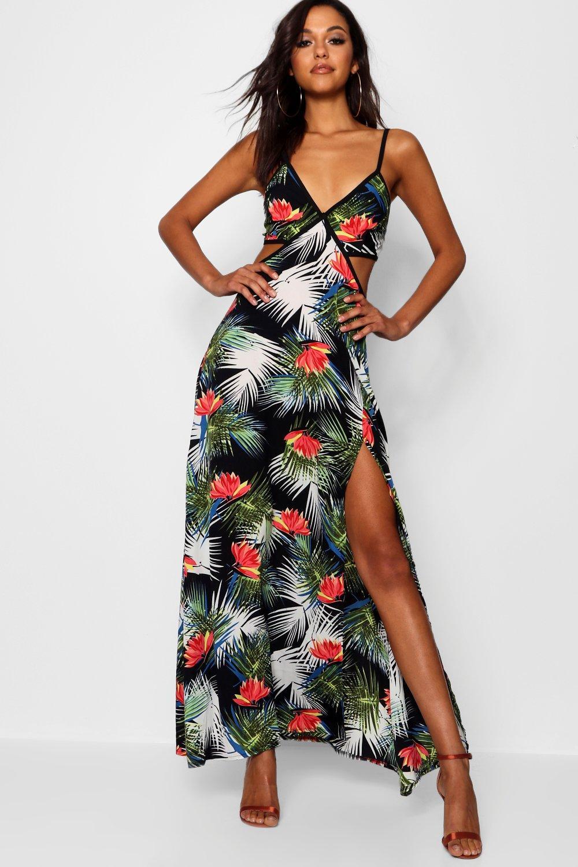 Купить Dresses, ПЛАТЬЕ МАКСИ С ТРОПИЧЕСКИМ ПРИНТОМ В ВИДЕ ПАЛЬМ И С ВЫРЕЗАМИ JULIE, boohoo