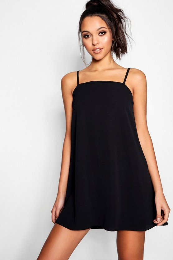 Square Neck Woven Strappy Cami Dress
