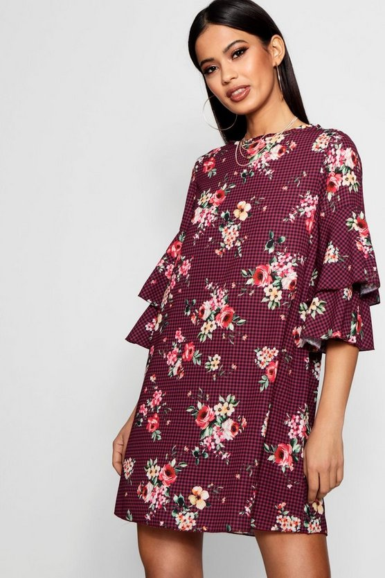 Annie Floral Check Volume Sleeve Shift Dress