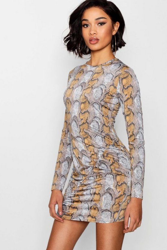 Snake Print Ruched Bodycon Dress