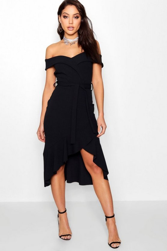 Lisa Off the Shoulder Tie Midi Skater Dress