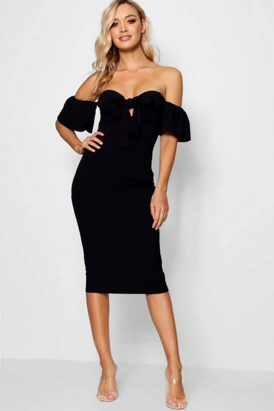 Tie Front Off the Shoulder Midi Dress