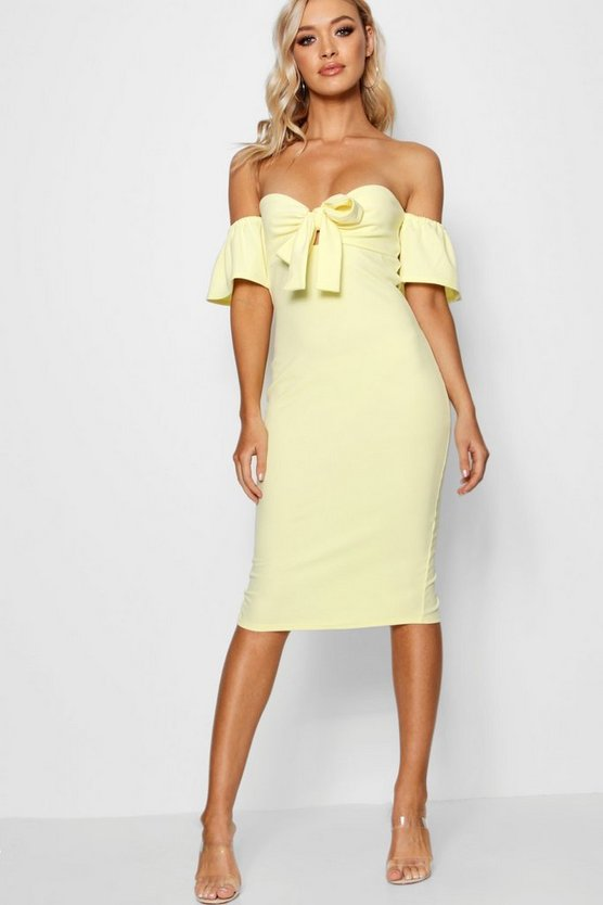 Louise Tie Front Off the Shoulder Midi Dress